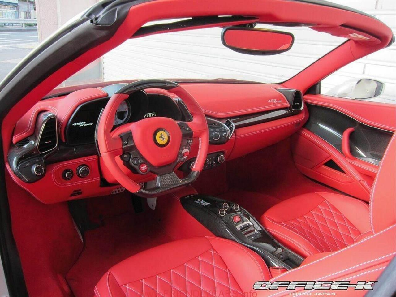 Awesome Ferrari 458 Spider White Red Interior Car Images