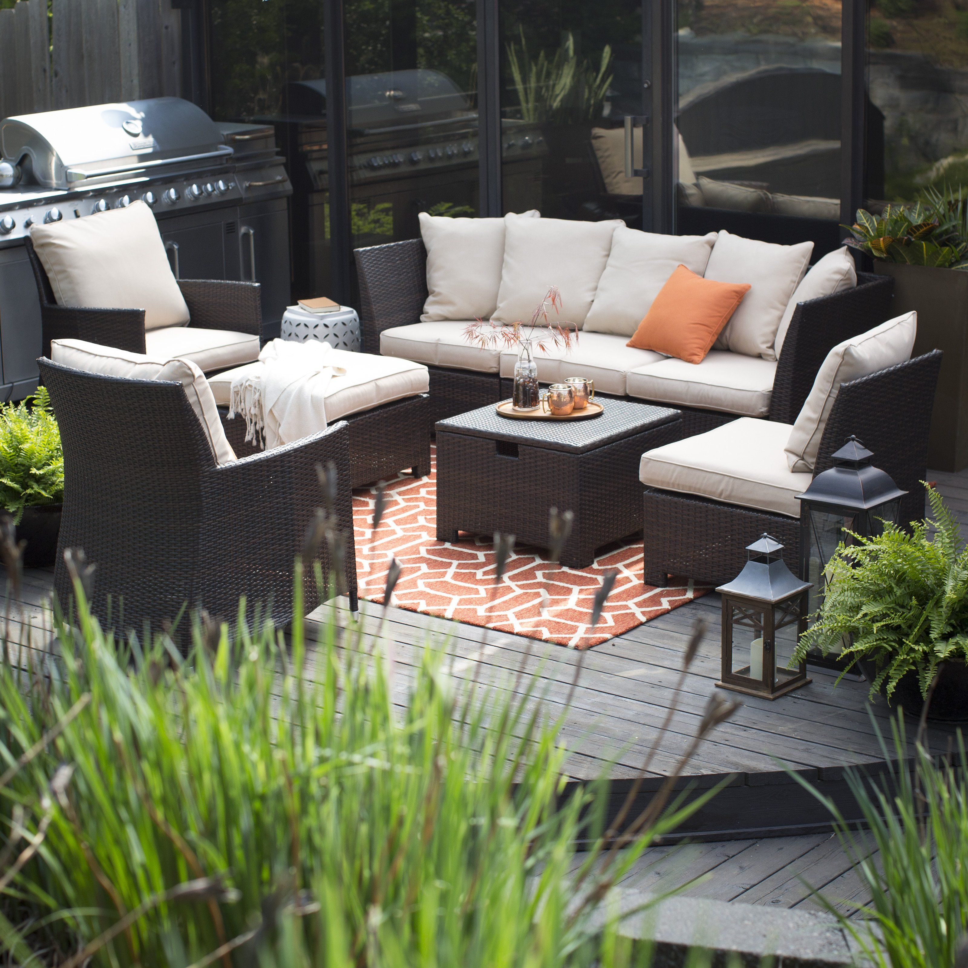 Coral coast south isle all weather wicker 8 piece patio conversation set from hayneedle com
