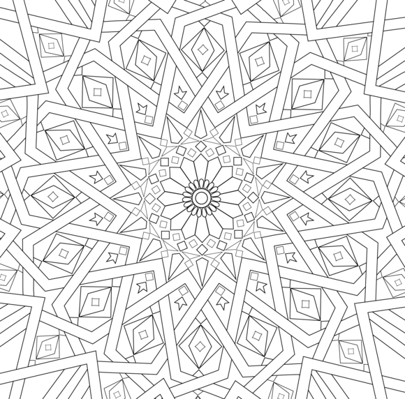 Traditional Islamic Mosaic Coloring Page Geometric Coloring Pages Islamic Mosaic Pattern Coloring Pages
