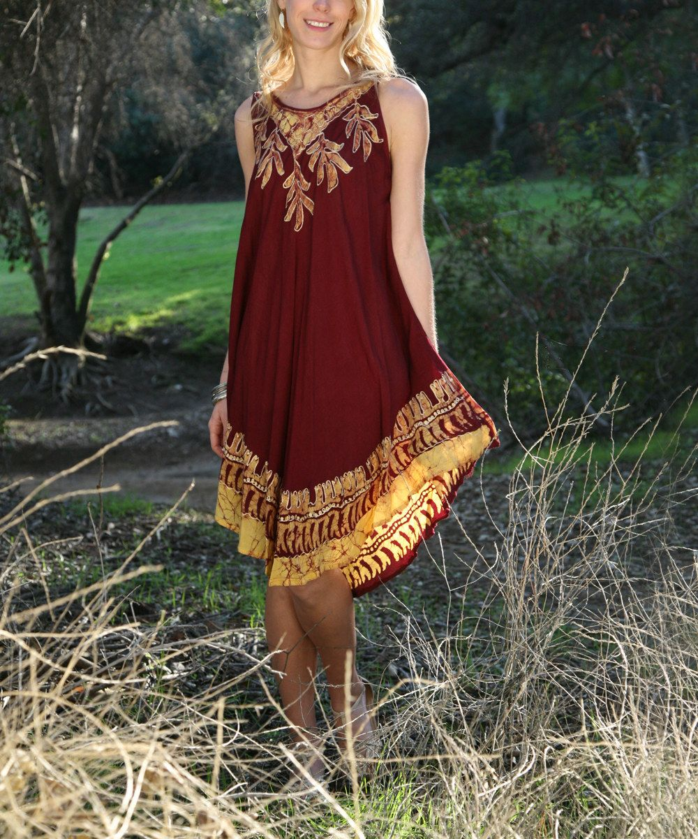 Look at this Burgundy & Gold Floral Sleeveless Dress on #zulily today!