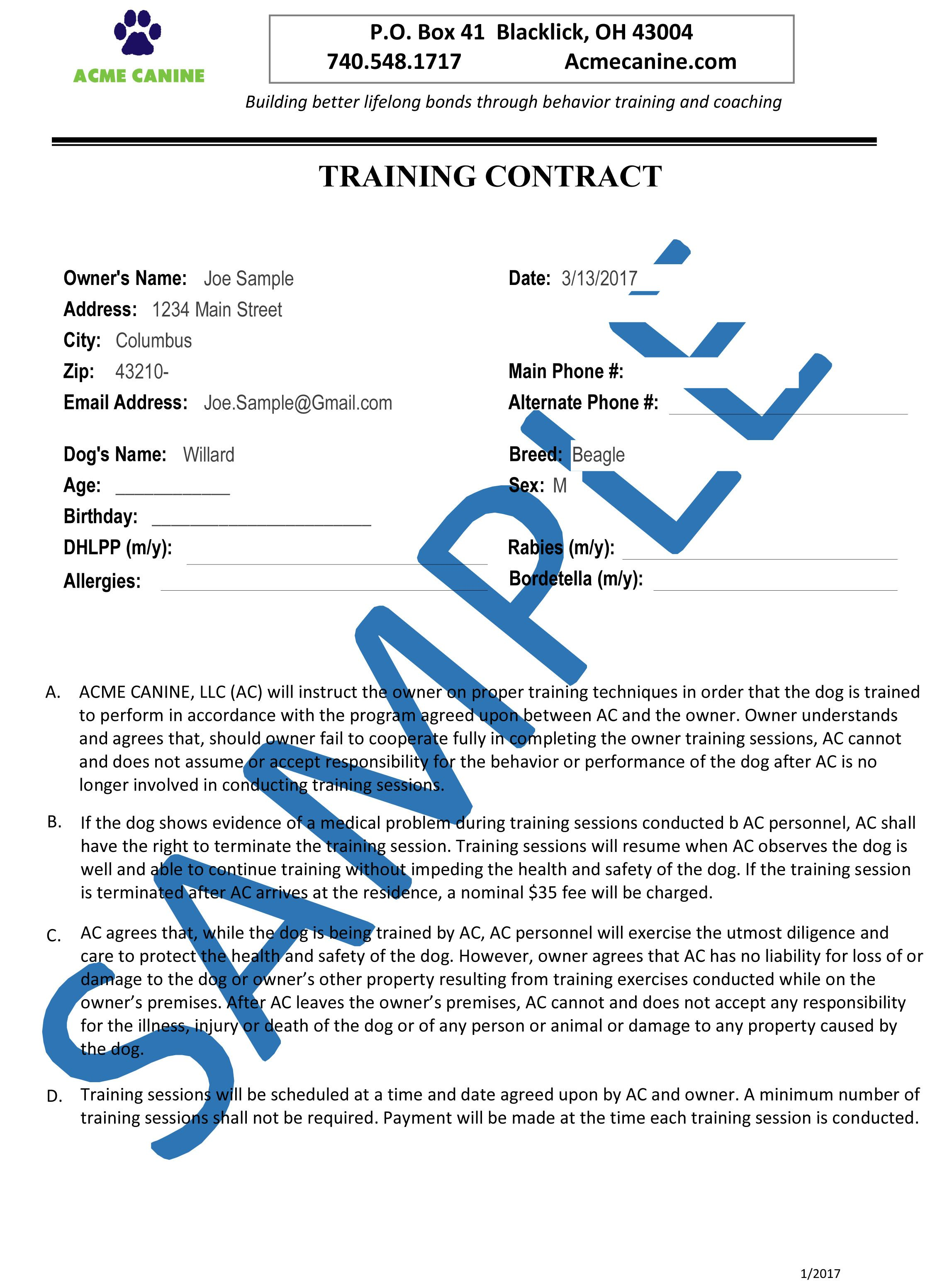 Sample Training Contract Agreement You Can Get Additional
