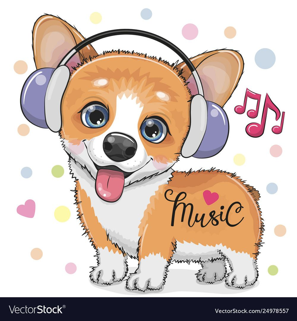 Cute Cartoon Corgi Dog With Headphones Vector Image On Cute