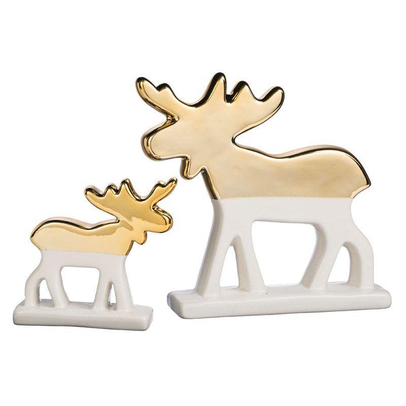 Sullivans 2 Piece Star Bright Moose Tabletop Decor Set Table Top Decor Sullivans Figurines