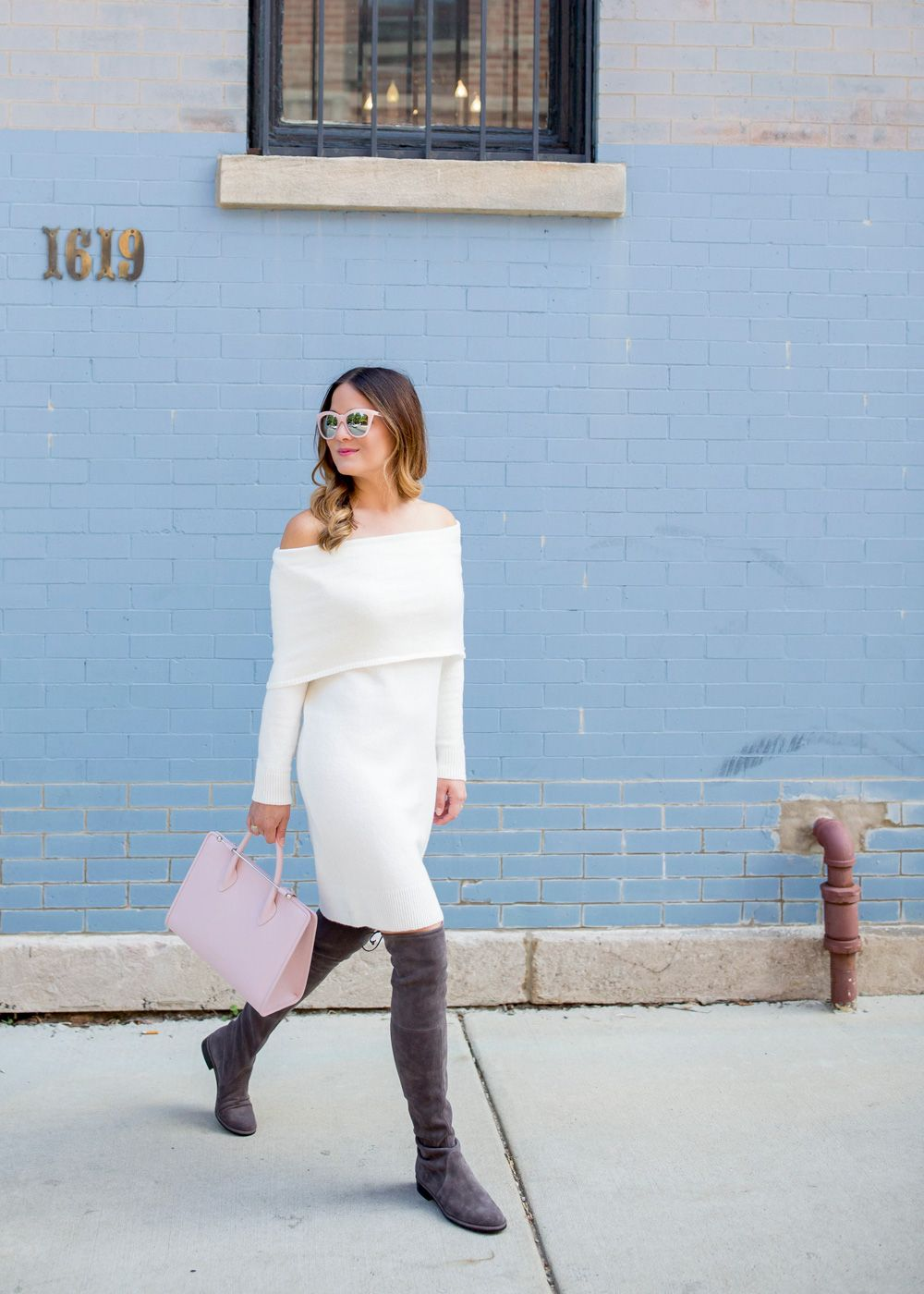 Off Shoulder Sweater Dress | Quay sunglasses, Shoulder and Charades