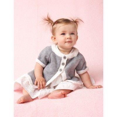 0a4ad4ba20274 Bernat Top Down Cardigan Free Knitting Pattern. Skill Level  Intermediate  Sizes  6 months