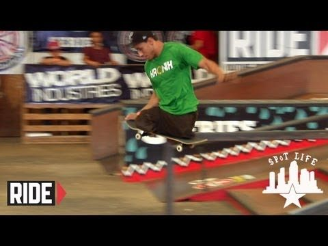 Italo Romano in a skateboard competition. Even with no legs he knows how to rip on the course.