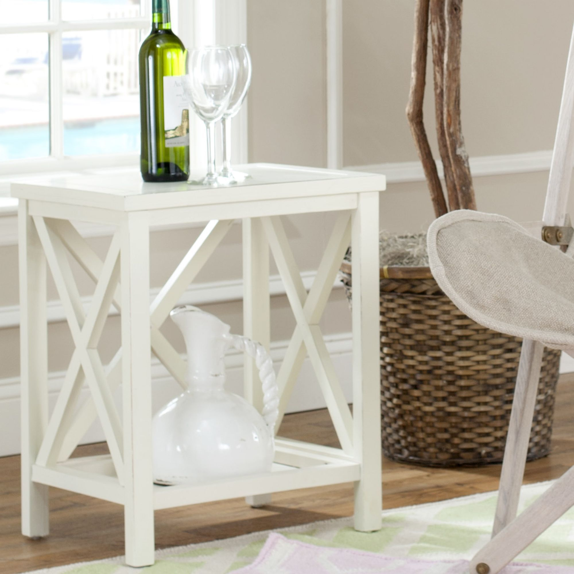 Safavieh Otley White Cross Back End Table | Overstock.com Shopping   The  Best Deals