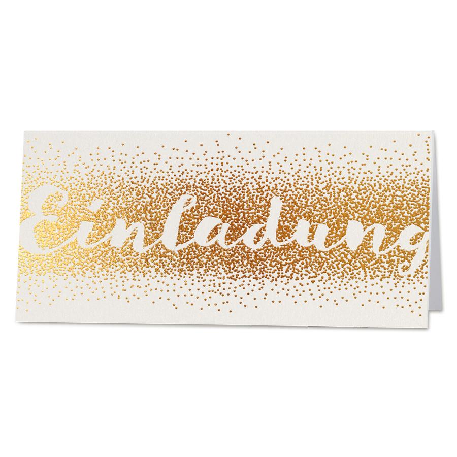Edle Einladungskarte Auf Schimmernden Premiumkarton Mit Edler  Goldfolienprägung Online Bestellen!