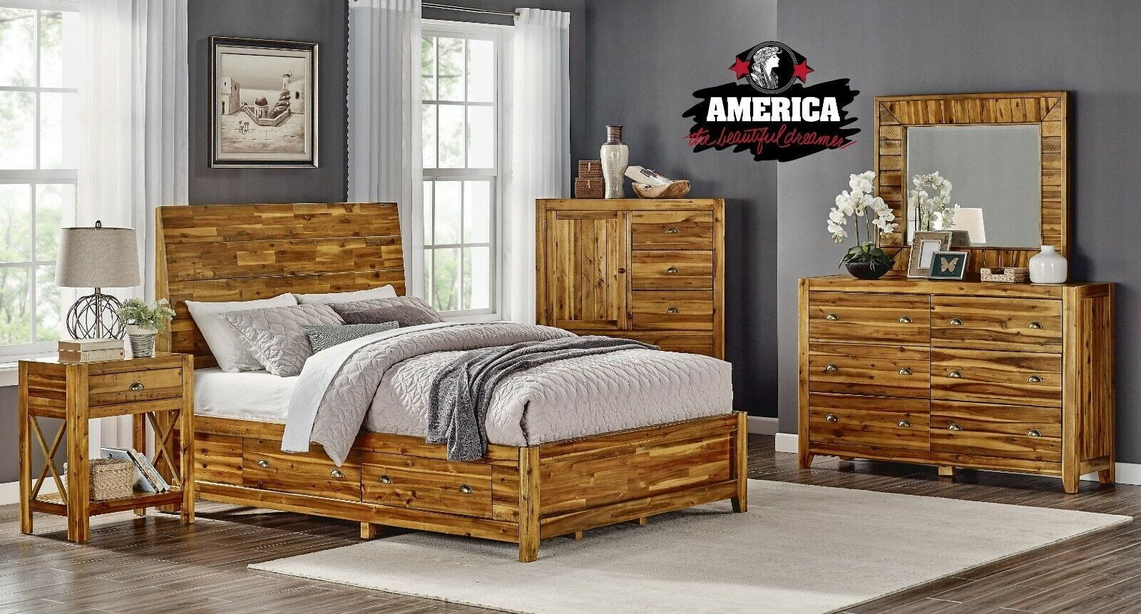 Used Queen Bedroom Set Solid Acacia Wood Bed King Or Queen Bedroom Set Furniture In 2020 Bedroom Sets Queen Toddler Bedroom Furniture Sets Bedroom Set