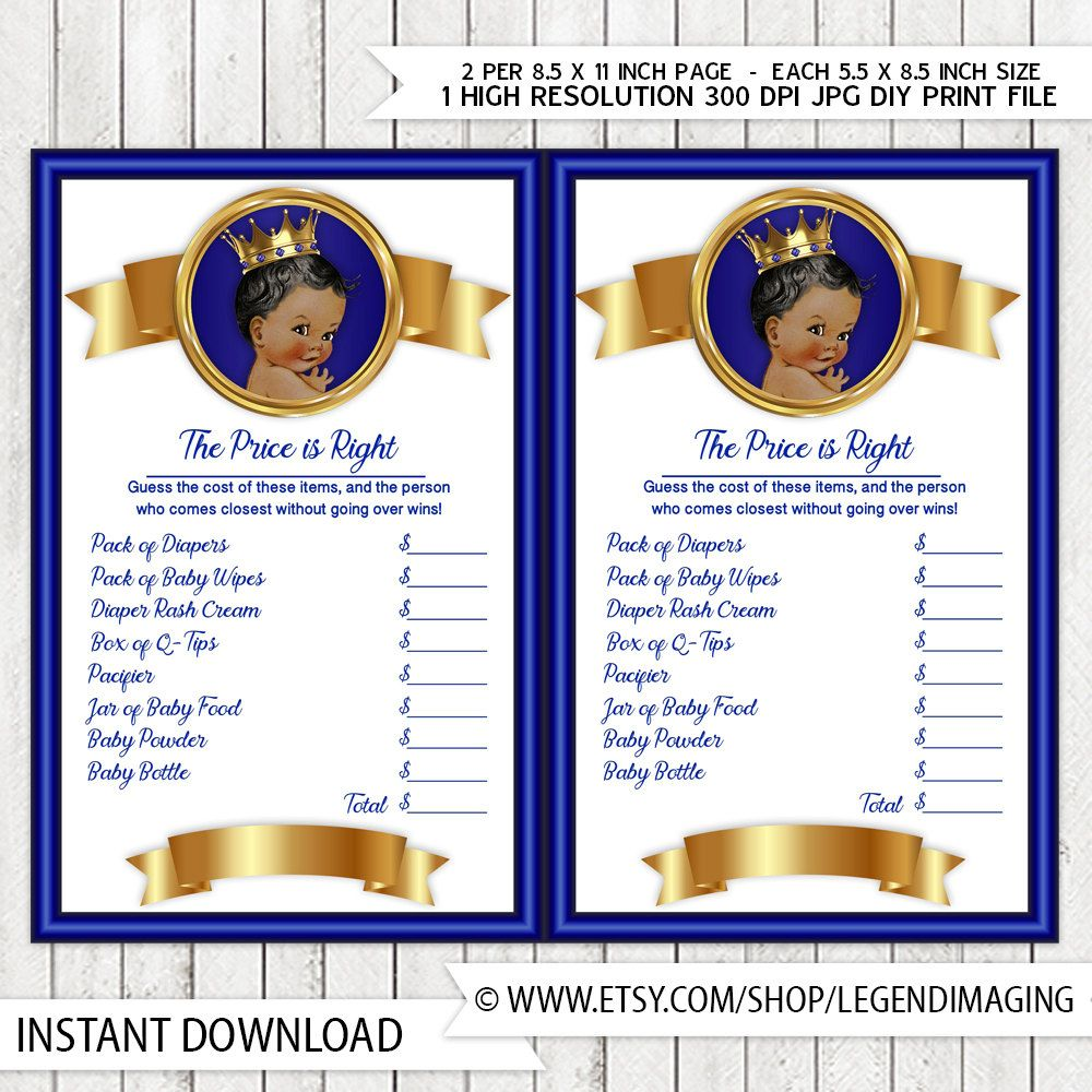 Prince Price Is Right Baby Shower Game Royal Blue Gold Ethnic Prince