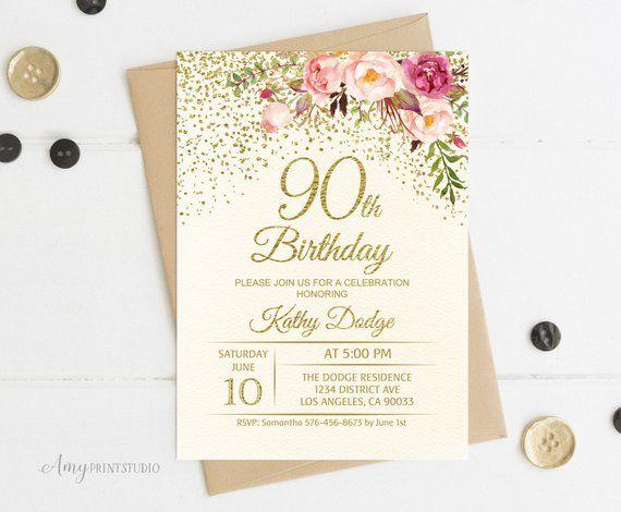 90th Birthday Invitation Floral Ivory Cream Invite PERSONALIZED Dig