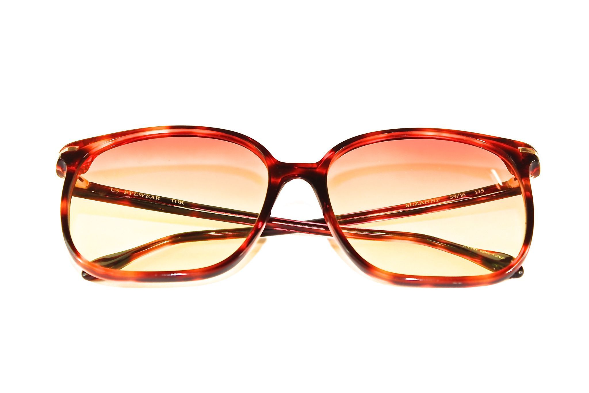 d32f59e859 U.S. Eyewear - Suzanne Sunset Tortoise Sunglasses Deep Red tortoise square  frame best for summer days