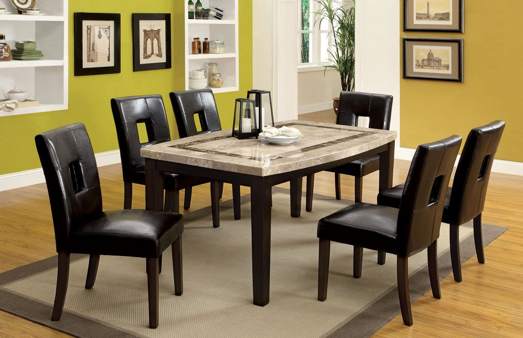 A M B Furniture Design Dining Room Table Sets Marble 7 Pc Lisbon Ii Contemporary Style Dark Walnut Finish Wood