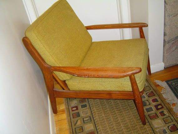 Vintage Danish Modern Mid Century Wood Lounge Chair By Stanley