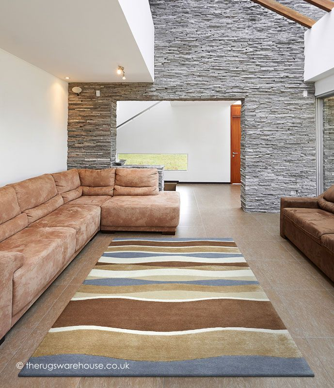 Earth Tones Rug A New Zealand Wool Viscose Mix With Wave Like