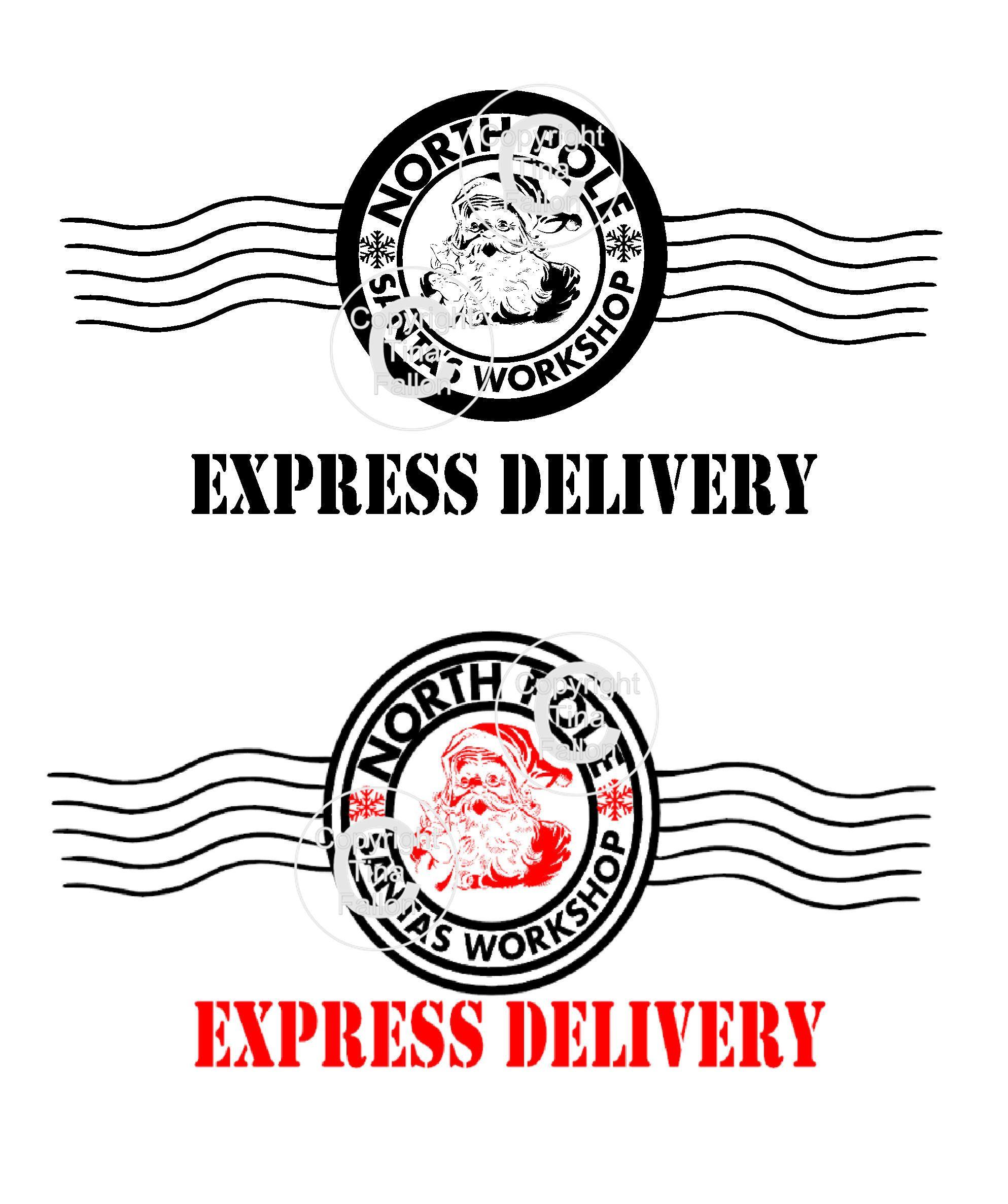 2 X Santa North Pole Express Delivery Postmark Transparent Etsy North Pole Express Santa North Pole Santa Express
