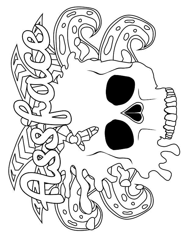 Skull - Adult Coloring page - swear. 14 FREE printable coloring ...