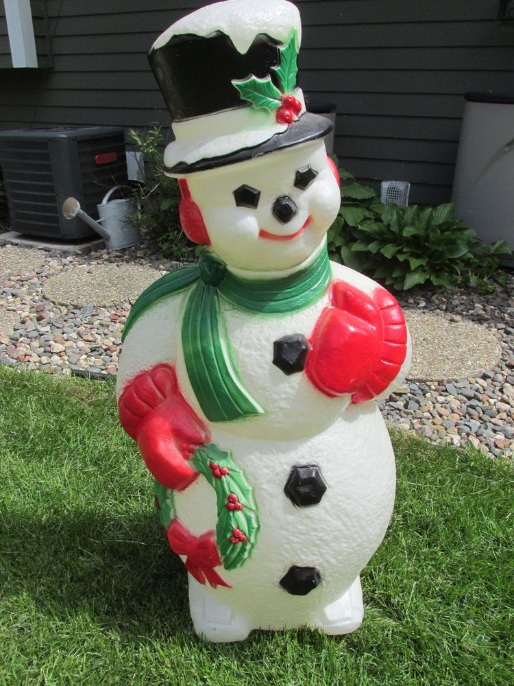 Large Blow Mold Snowman Wreath Christmas Winter Lighted