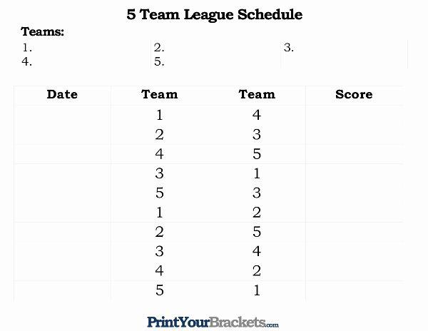 10 Team Schedule Template Unique Printable 5 Team League