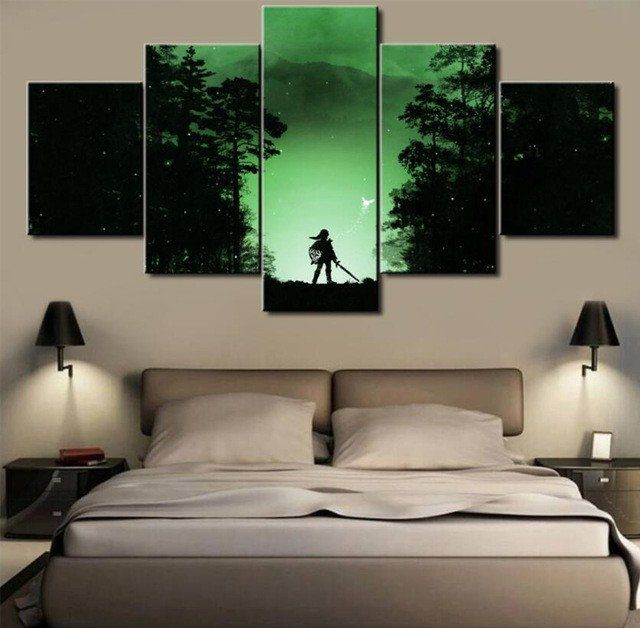 The Legend Of Zelda, 5 Panel Framed Canvas Wall Art