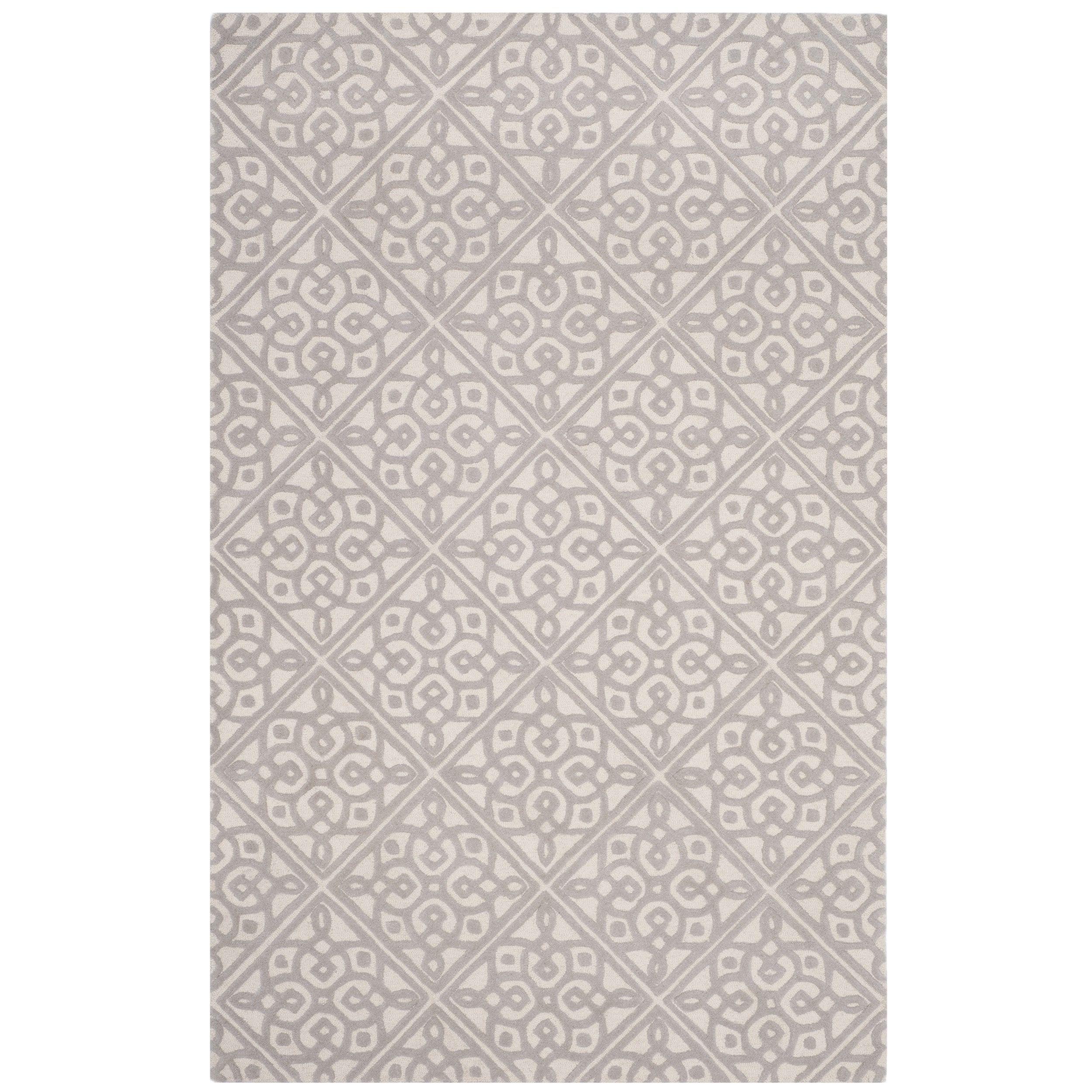 Safavieh Cambridge Transitional Geometric Hand-Tufted Wool Ivory/ Grey Area Rug (4' x 6') (CAM731Q-4), Size 4' x 6'
