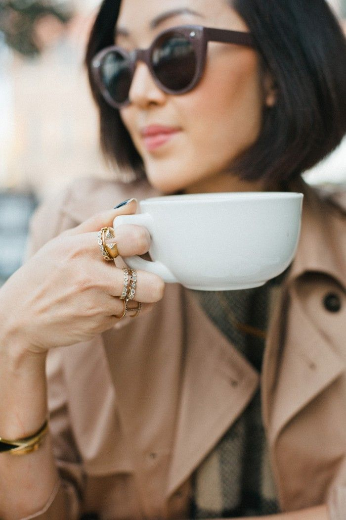 Stacked rings + the perfect trench & fabulous sunglasses // coffee shop…