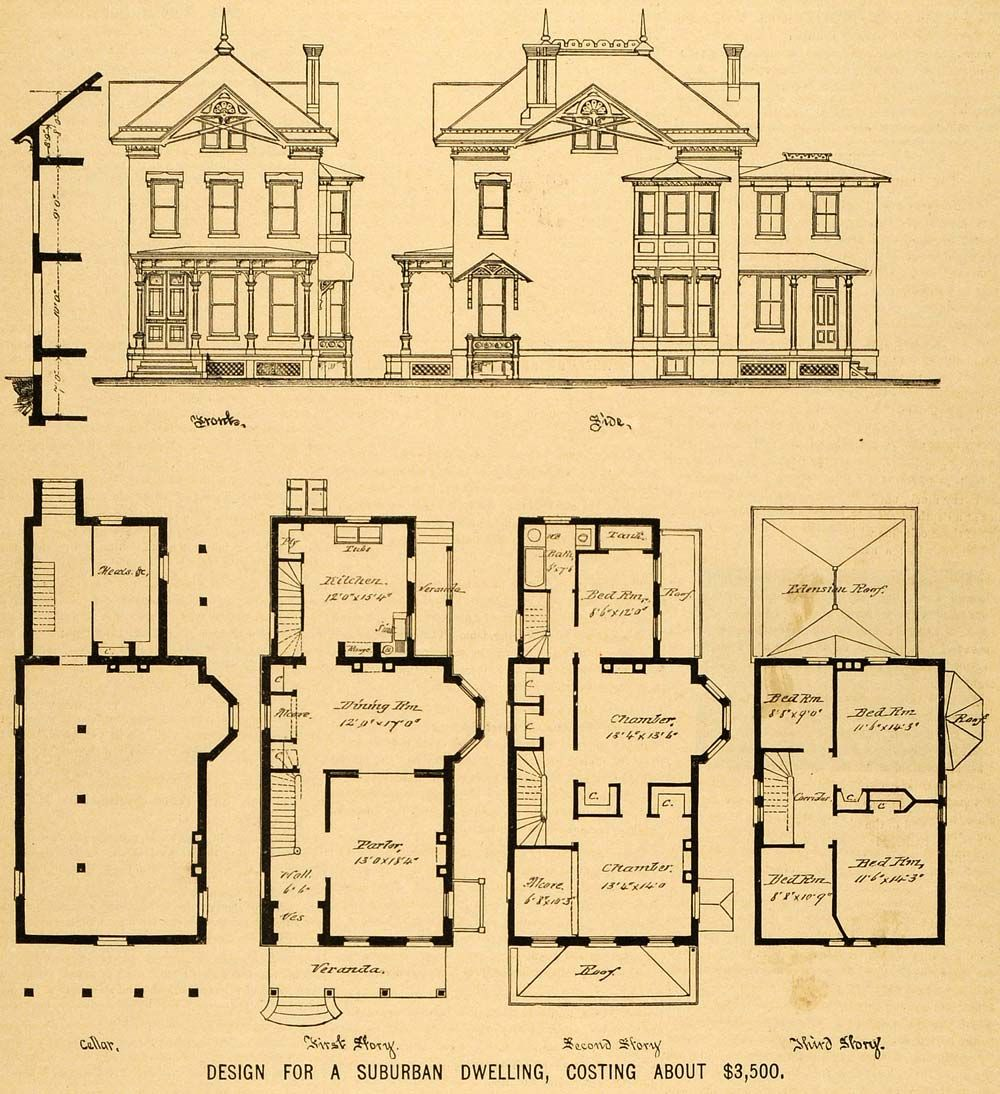 Victorian house floor plans the image for Vintage floor plans