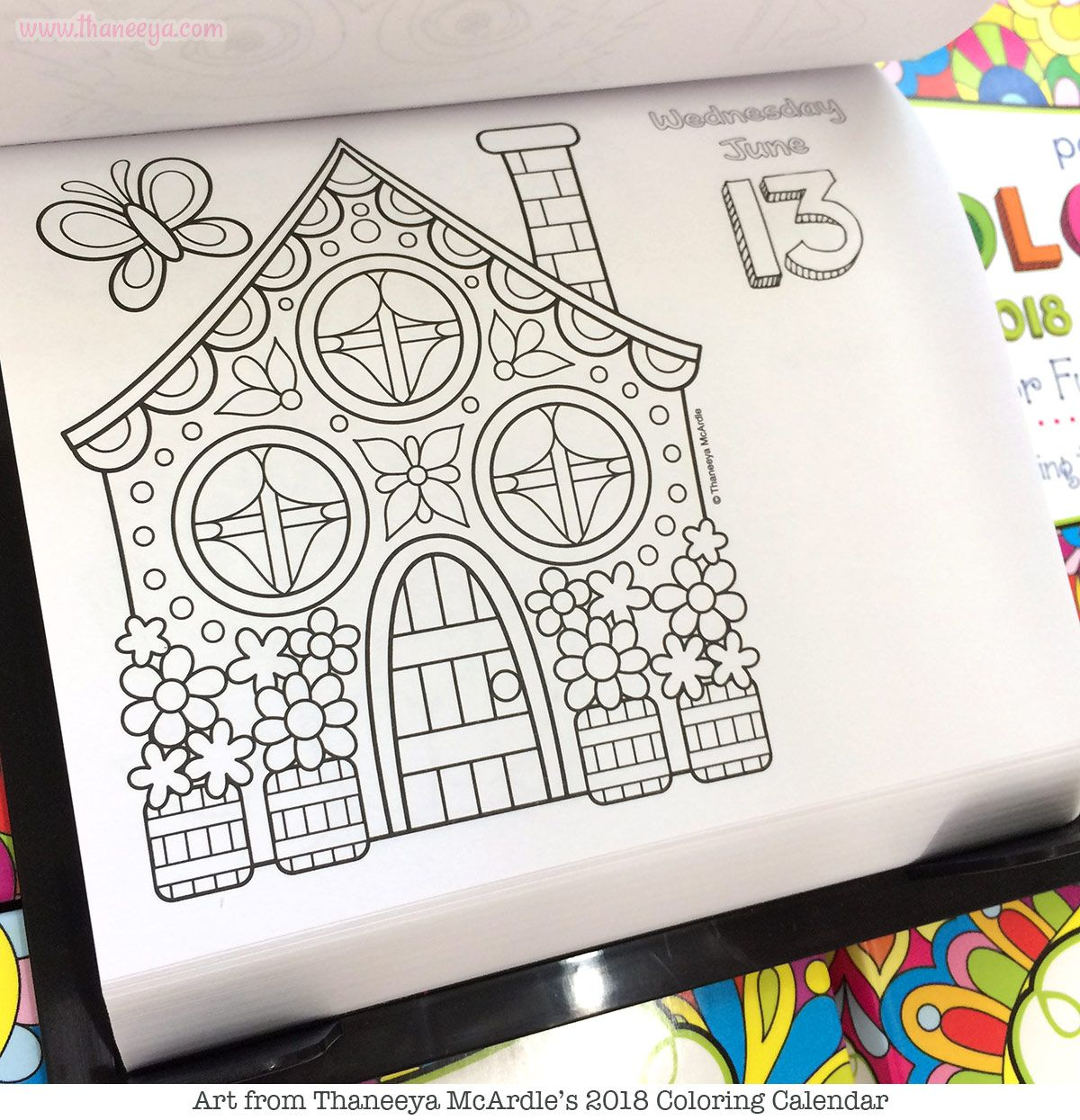 Cute Cottage Coloring Page From Thaneeya McArdles 2018 Calendar