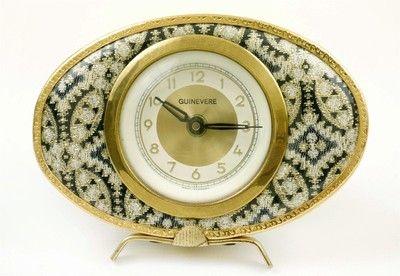 Super Vtg 50s 1960s German needlepoint Tapestry Clock Eames Era retro kitsch BW | eBay