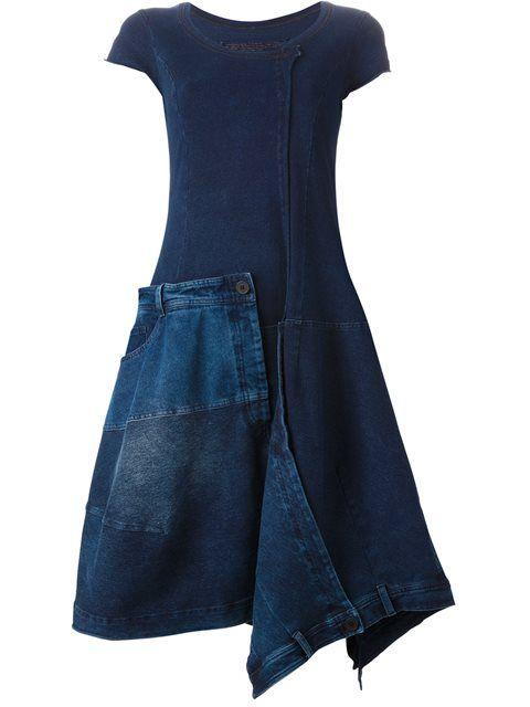 Shoppen Rundholz Jeanskleid mit Patchwork Design von aus den