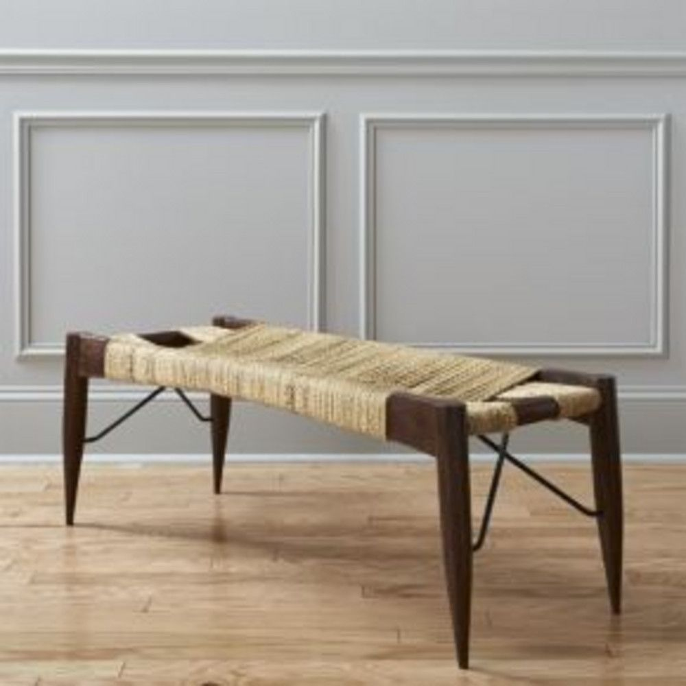 Wrap Bench cb2 - august catalog - wrap bench$399 acacie wood and sisal rope