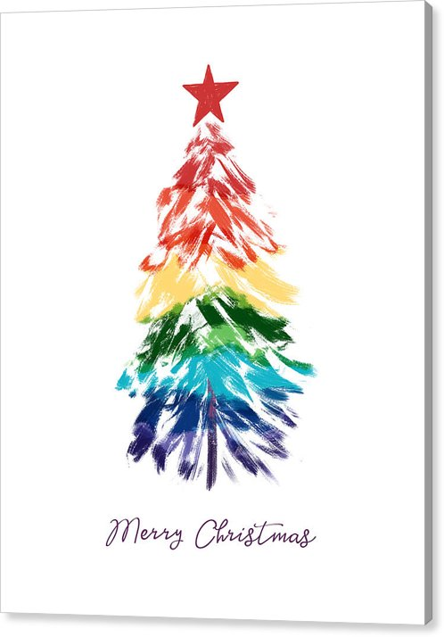 Rainbow Christmas Tree Art By Linda Woods Canvas Print Canvas Art By Linda Woods In 2020 Christmas Card Art Watercolor Christmas Tree Christmas Tree Art