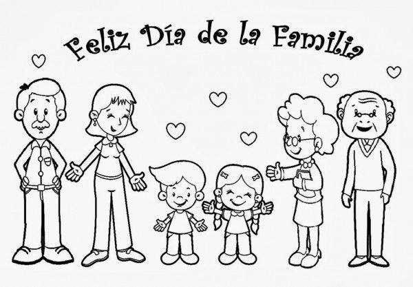 Dibujos para pintar del Día de la Familia con Frases | Frases para ...