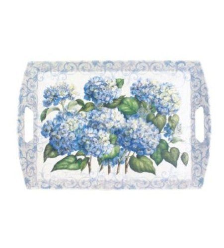 Decorative Plastic Serving Trays Melamine Large Plastic Serving Tray With Handles 22 X 15 Hydrangea