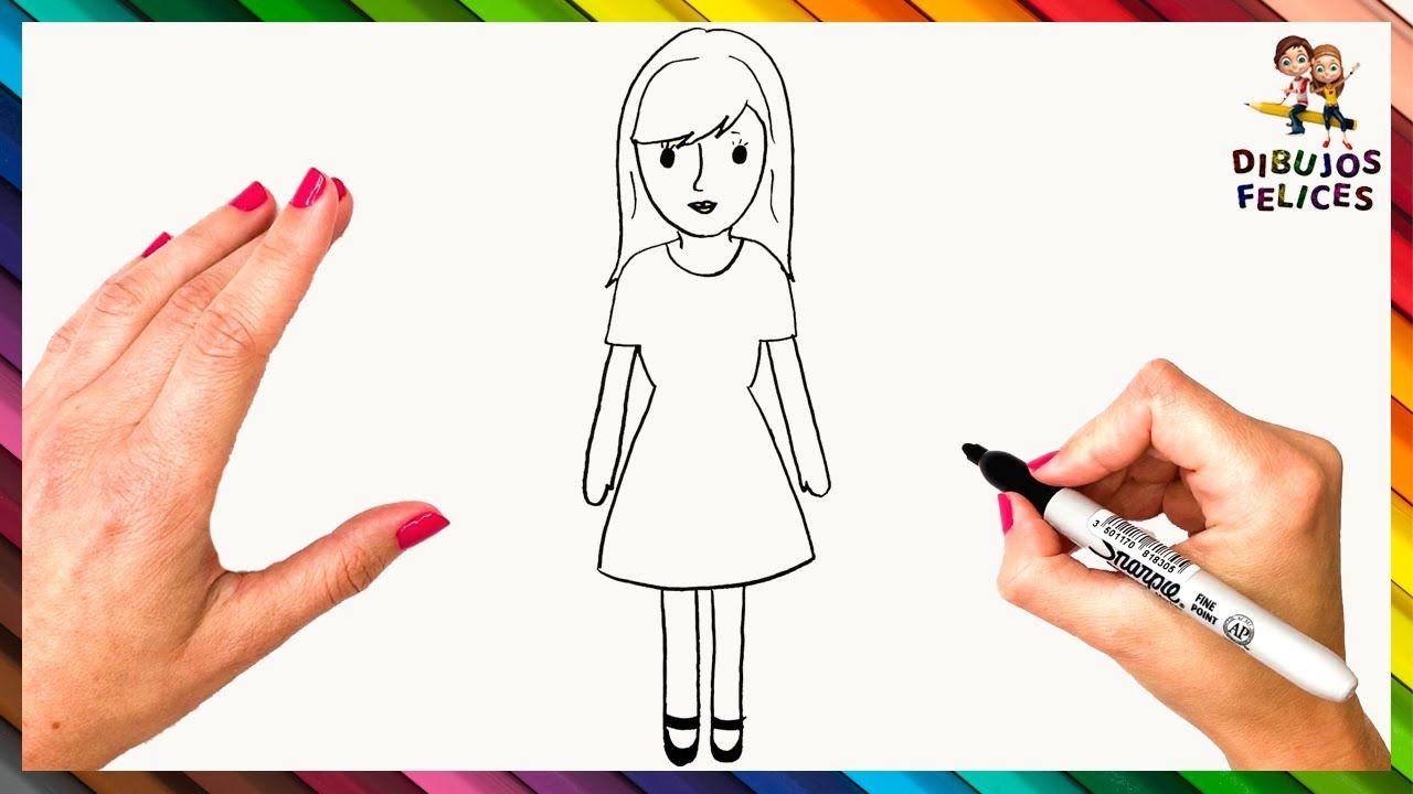 Como Dibujar Una Mujer Para Ninos Dibujo De Mujer Paso A Paso Dibujar Una Mujer Dibujos De Profesiones Dibujo De Peppa Pig