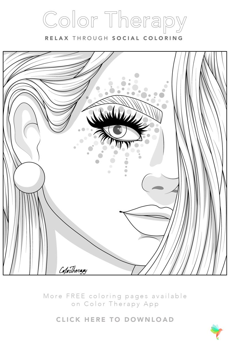 Color Therapy Gift Of The Day Free Coloring Template People Coloring Pages Color Therapy Barbie Coloring