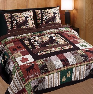 Greenland Home Fashions Whitetail Lodge 3 Piece Quilt Set : moose lodge quilt set - Adamdwight.com
