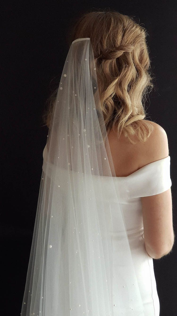 nadia | long pearl bridal veil | wedding dress in 2019