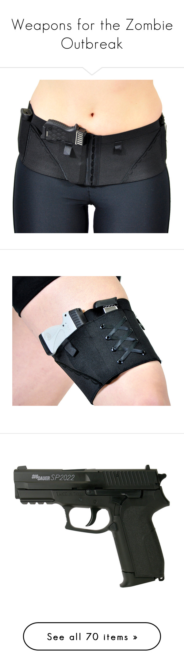 """""""Weapons for the Zombie Outbreak"""" by supercait12 on Polyvore featuring intimates, props, weapons, grey, women's clothing, black slip, military fashion, accessories, garter belt and garter slip"""