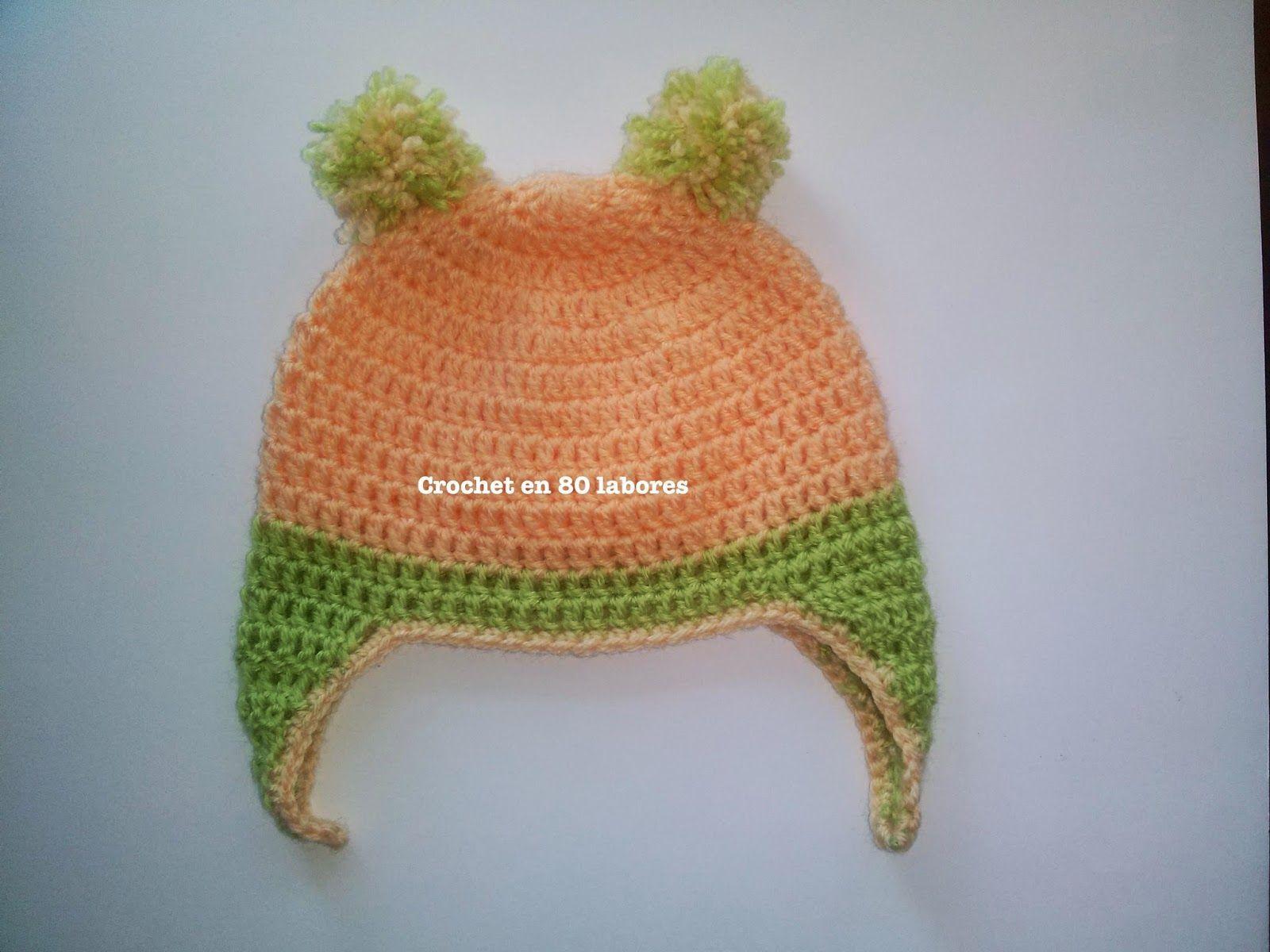 Gorrito de bebe con orejeras | lascosasdepat_ganchillo, punto ...