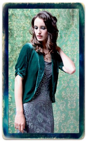 Lilliana Tea Jacket in Peacock Silk Velvet
