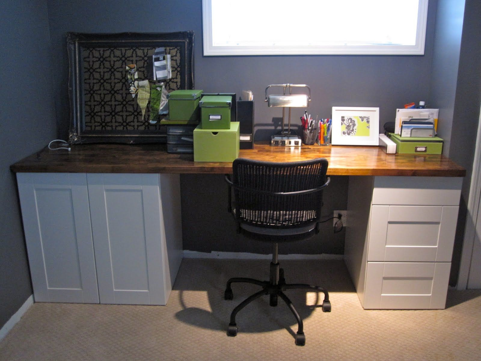 Simple Desk Can Be Made With 2 Reclaimed Cabinets And A Door Built In Desk Ikea Countertop Desk Ikea Kitchen Cabinets