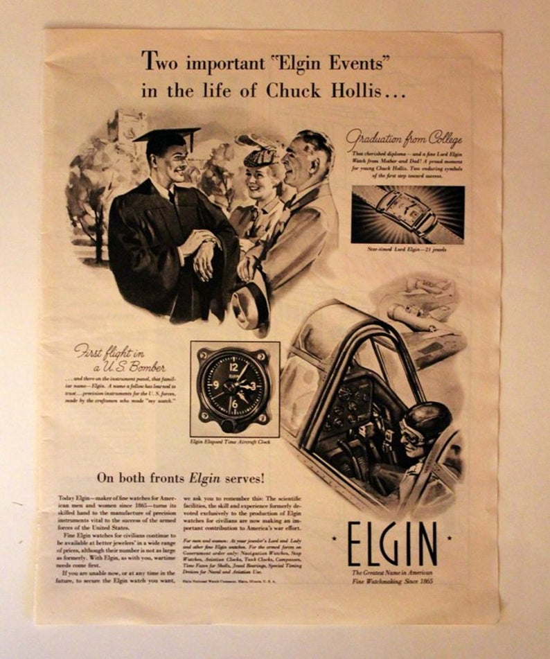1942 Elgin Watch Ad With Graduate Wwii Pilot Aircraft Etsy In 2020 Elgin Elgin Watch Printing Labels