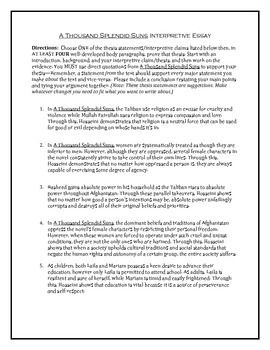 Essay On School Lunches A Thousand Splendid Suns Interpretive Essay  Essay About Environmental Pollution also Essay Topics For The Great Gatsby A Thousand Splendid Suns Interpretive Essay  College Application  How To Write An Essay On A Novel