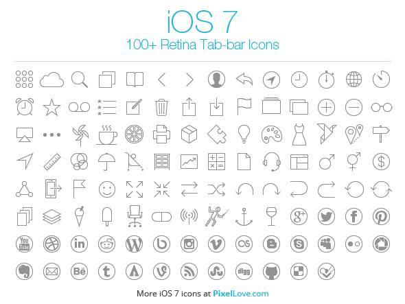 100 Free Ios 7 Tab Bar Icons Ios 7 Icons Ios 7 Free Design