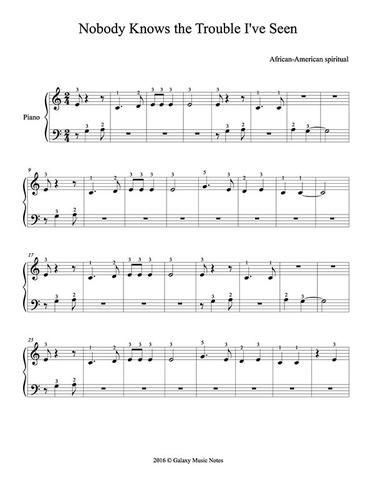Nobody Knows The Trouble I Ve Seen Level 1 Piano Sheet Music