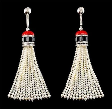 Yafa Jewelry: Platinum tassel earrings with diamonds, pearls, onyx and coral.