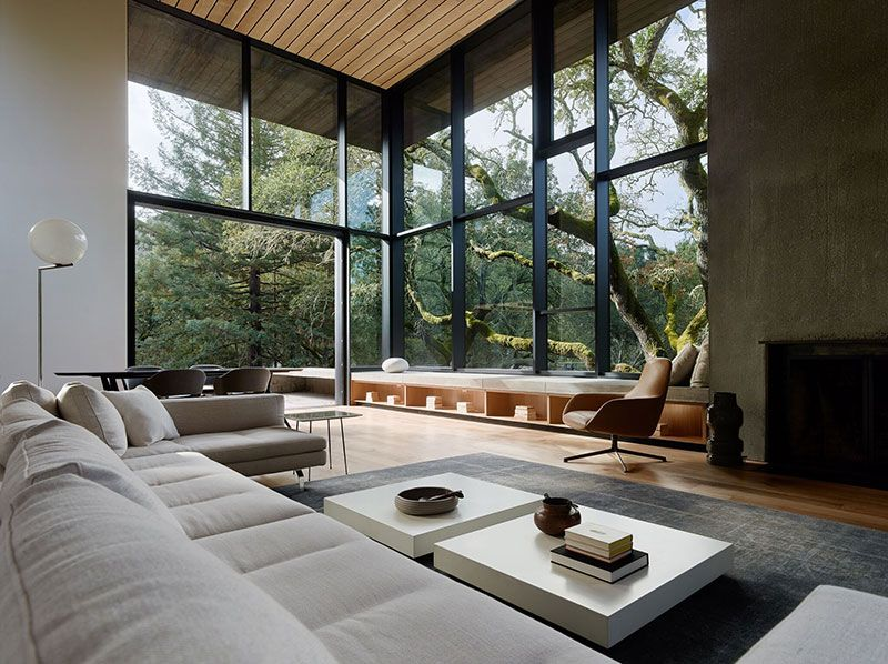 Impressive Minimalist Design And Energy Efficient Concept Modern House In The Woods Photos Ideas Design Modern House Design House Modern Houses Interior Modern house living room designs
