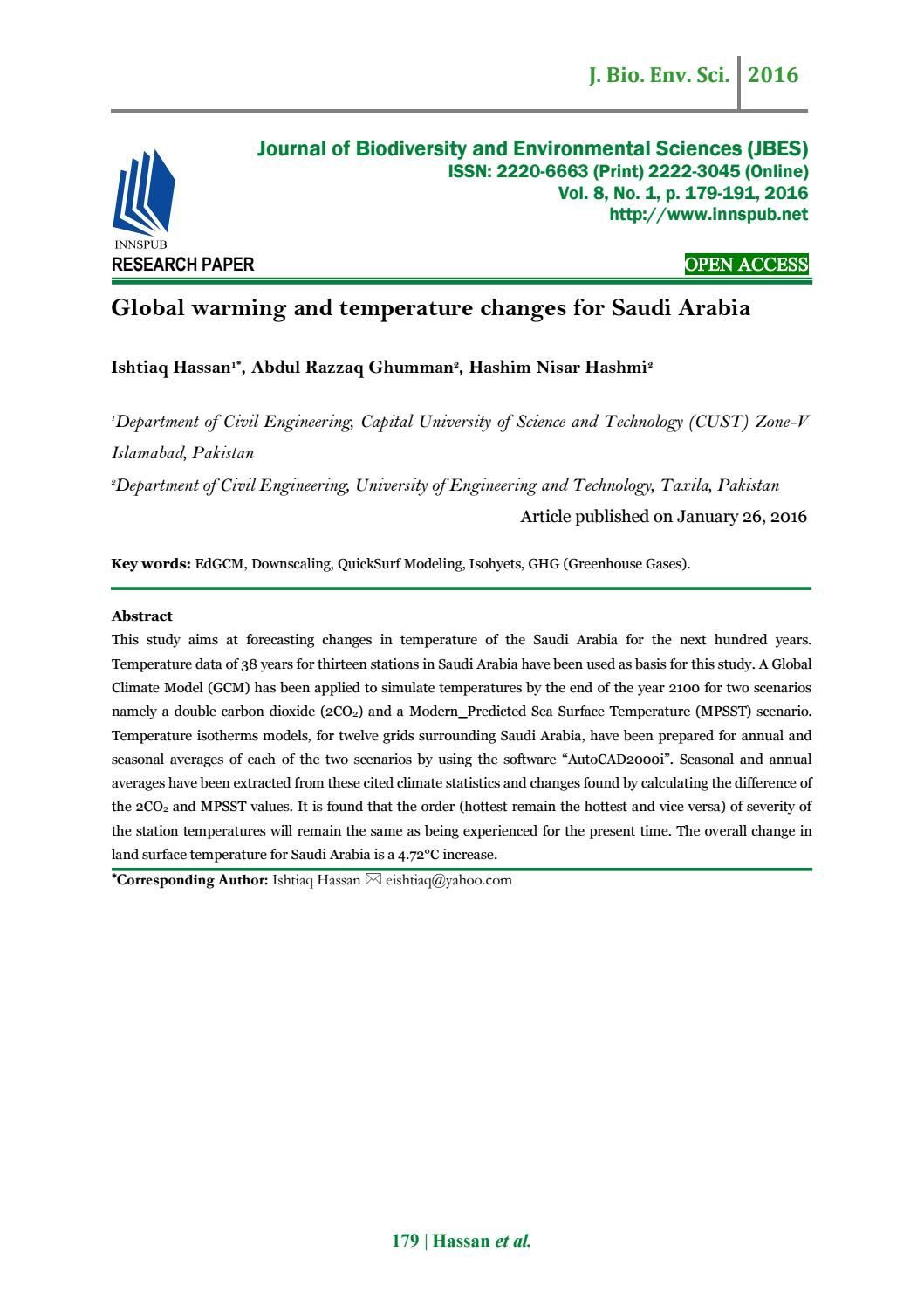 Global Warming And Temperature Changes For Saudi Arabia Environmental Science Environmental Chemistry Research Paper