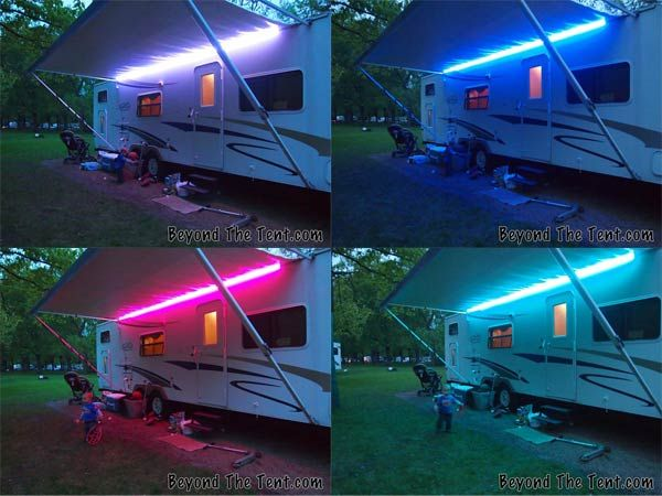 Fun With Lights Spicing Up Your Camper With Led Lights Beyond The Tent Awning Lights Camper Awnings Camper Lights